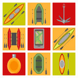 Vector icons on the theme of water tourism Stock Photography