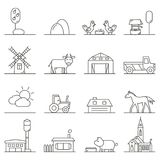Countryside icons in linear style. stock illustration