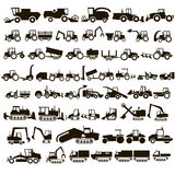 50 vector icons tractors. 50 black icons tractors and construction equipment on white background Stock Images