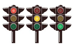 Vector icons of traffic light isolated on white background. Stoplight semaphore symbols with red, yellow and green lights. safety regulation signs. flat style Royalty Free Stock Photography