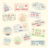 Vector icons of travel city passport stamp Royalty Free Stock Photography