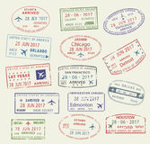 Vector icons travel city passport stamp USA Canada Stock Photos