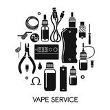 Vector icons of vape and accessories Stock Image