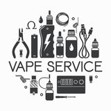 Vector icons of vape service Royalty Free Stock Photography