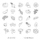 Vector icons of vegetables Stock Images