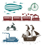 Vector icons of vintage means of transportation. Set of vintage transportation icons bycicle zeppelin train pirat ship car steamboat Stock Photo