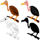 Vector Icons : Vultures - colors and silhouette Stock Photo