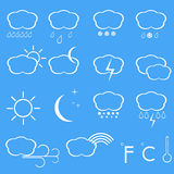 Vector icons of weather. Royalty Free Stock Image