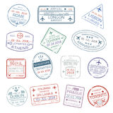 Vector icons of world travel city passport stamps. Passport stamps set with city names Rome Italy , London or Lisbon and Athens, Tehran or Delhi and Seoul stock illustration