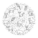 Vector icons. Zoo. Animals Royalty Free Stock Photography