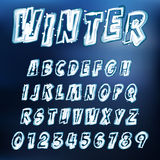 Vector icy font. Abstract vector illustration of an icy alphabet Stock Photo
