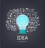 Vector idea concept. Bulb with hand drawn brainstorm, infographics around. stock illustration