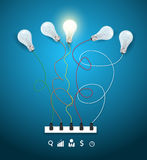 Vector idea concept with light bulbs on a blue bac Royalty Free Stock Photos