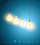 Vector idea concept light bulbs on blue background new year 2017 Stock Photography