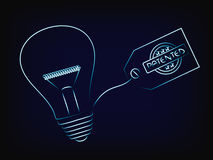 Vector of idea lightbulb with patent tag. Concept of intellectual property and inventiveness, with mesh background Stock Images
