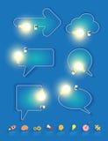 Vector a ideia criativa da ampola na forma de bolhas do discurso ilustração stock