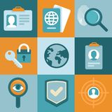 Vector identification concepts in flat style. Icons and signs Royalty Free Stock Photos