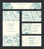 Vector identity banner, brochure, business card templates set with doodle sketched fruits and vegetables. Vegetarian ecological food illustration Royalty Free Stock Photo
