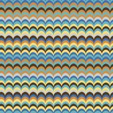 Vector ikat wave feather oriental retro bright colours seamless pattern. For wrapping, fabric, textile, craft royalty free illustration