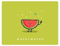 Vector Ikone der Wassermelone, lustige Zeichentrickfilm-Figur der Frucht Stockbilder