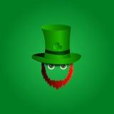 Vector Ikone des modernen Designs auf St Patrick Tagescharakterkobold mit grünem Hut, rotem Bart und grünen Augen Lizenzfreies Stockfoto