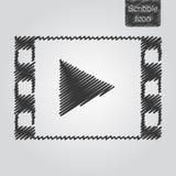 Vector Ikone des Spielknopfes im Filmrahmen in der Gekritzelart Stockfoto