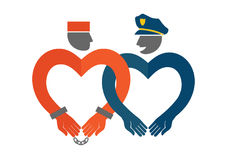 Vector Ikone eines Polizisten und des Gefangenen Lizenzfreie Stockbilder