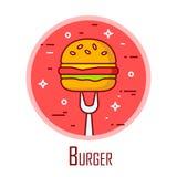 Vector Ikone mit Burger und Gabel in einem farbigen Kreis Vektorfahne für Schnellimbiß Dünne Linie flaches Design Stockfotografie