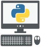 Vector Ikone von Personal-Computer mit Pythonschlangenzeichen auf dem Schirm, Stockbild