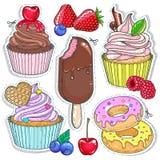 Vector Ikonen farbige Süßigkeit, Nachtisch, kleine Kuchen, Kuchen, Donuts und Beeren Stockbild