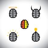 Vector Ikonen von den verschiedenen Arten von Gehirnen wie Genie, kreativ vektor abbildung