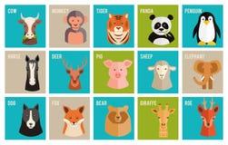 Vector Ikonen von Tieren und von Haustieren in der flachen Art Stockfoto