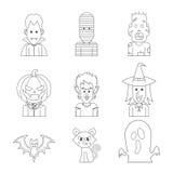 Vector Ikonencharakterillustration des Halloween-Monsterkostüms lizenzfreies stockbild