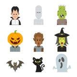 Vector Ikonencharakterillustration des Halloween-Monsterkostüms lizenzfreie stockfotografie