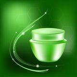 Vector il barattolo crema con gli abbagliamenti ed accenda sui precedenti verdi, illustrazione di stock