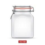 Vector il barattolo di vetro del quadrato vuoto della balla con il coperchio della cima dell'oscillazione isolato sopra i precede Immagine Stock Libera da Diritti