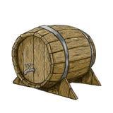 Vector il barilotto di legno del disegno della mano nel fondo bianco Fotografia Stock Libera da Diritti