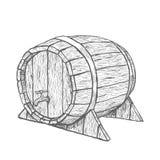 Vector il barilotto di legno del disegno della mano nel fondo bianco Immagini Stock