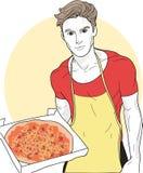 Vector il bello giovane cuoco unico e la pizza deliziosa con formaggio e la salsiccia fotografia stock