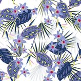 Vector il bello modello tropicale luminoso artistico senza cuciture con Fotografia Stock Libera da Diritti