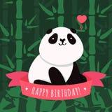 Vector il biglietto di auguri per il compleanno ed il fondo felici con il panda sveglio del fumetto Illustrazione di Stock