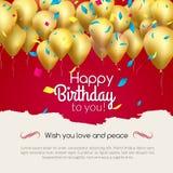 Vector il biglietto di auguri per il compleanno felice con i palloni ed i coriandoli dorati, invito del partito royalty illustrazione gratis