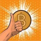 Vector il bitcoin dell'illustrazione ed il concetto cripto di valuta - passi i pollici su stile di Pop art Immagini Stock Libere da Diritti