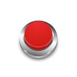 Vector il bottone rosso rotondo di web 3d con la struttura del metallo Fotografie Stock Libere da Diritti
