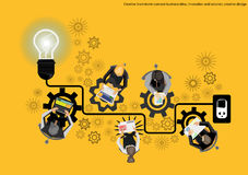 Vector il 'brainstorming' dell'uomo d'affari per la progettazione piana di creatività di idee Fotografia Stock