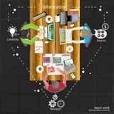 Vector il 'brainstorming' e la riunione di affari del lavoro di gruppo sulla tavola Fotografie Stock