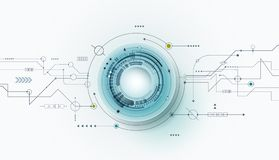 Vector il bulbo oculare futuristico astratto dell'illustrazione sul circuito, alte tecnologie informatiche illustrazione di stock