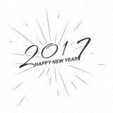 Vector il buon anno monocromatico 2017 del testo per la cartolina d'auguri, l'aletta di filatoio, logo del manifesto royalty illustrazione gratis