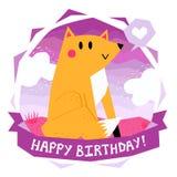 Vector il buon compleanno della carta e del fondo con la volpe divertente sveglia del fumetto che si siede sull'erba e sul cuore  Illustrazione Vettoriale