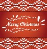 Vector il Buon Natale che segna su un ornamend del maglione di tricottare Rosso Fotografie Stock